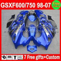 Comression Mold 2012 - 7gifts For SUZUKI KATANA Factory blue GSXF600 GSXF C L11 GSXF600 Blue black Fairing On Sale