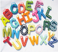 Wholesale 2014 Wooden cartoon baby early education alphabet Wooden Colorful Cartoon Fridge Magnets Refrigerator sticker cute Magnetic sticker