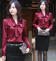 Women Bow Regular 2014 hot saleBrand:SZ Discount ! New Women Lady Korea Classic Bowtie Collar Long Sleeve OL Elegant Career Stunning Blouse S M L XL XXL