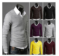 Wholesale Good quality Hot Solid Color spring Men s sweaters Pullover Fashion V neck man s Sweater Drop Ship
