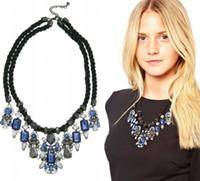 Wholesale Personality Unique Design Blue Gem Drop Fashion Women s Collar Choker Statement Necklaces Black Rope Chain PC