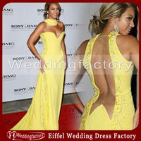 Wholesale Sexy Beyonce Dresses Chiffon Evening Dresses A Line High Neck Sweetheart Ruched Embroidery Beads Yellow Celebrity Gowns