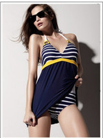 One Pieces Lycra Striped 2013 New Sexy Bikini Swimwear For Women Swimsuits Navy Conservative Cover The Belly Swimming Skirts 20p WY329