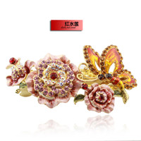 Wholesale New Chinese Cloisonne Enamel Flower Butterfly Wedding Hair Accessories Bridal Barrette Austrian Crystal Rhinestone Ornament Jewelry