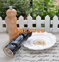 Wholesale Black and white Classical inch Wood Wooden Peppermill Shaker Pepper Spice Salt Mill Grinder Muller
