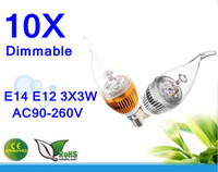 Wholesale E14 E12 E27 B22 W LED high power Dimmable Candle Light bulb lamp AC90 V Gold and Silver Warm Pure Cool White