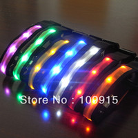 Wholesale Free Dropshipping Pets Dog Adjustable LED Lights Flash Night Safety Nylon Collar Waterproof S XL SL00165Y