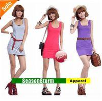 Work Sheath Mini [FOB] Wholesale Women Fashion 100% Cotton Solid Color Short Dresses Casual Jumper Skirts 100pcs lot (SU-45F)