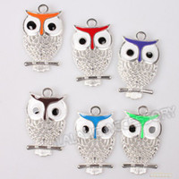 Wholesale 60pcs Mixed Colors Enamel Hollow Owl Charms Silver Rose Gold Alloy Charms Fit Handcrafts DIY