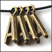 Wholesale 240pcs Antique Bronze Alloy Alphabet Letter A Charms Beads Fit Bracelet Making x7x2mm