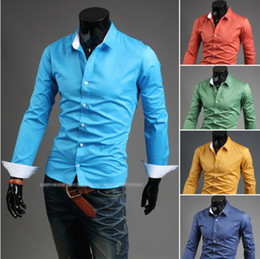 Wholesale Hot Sale Korean Men Fashion Slim Shirt Casual Long Sleeve Pure Color Men Shirt Outwear