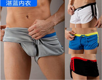 Wholesale Sexy Men s Casual Shorts Household Sport Swimming Shorts with G string Jocks Straps Inside GYM Running Trunks Mesh fabric Quick dry S M L XL