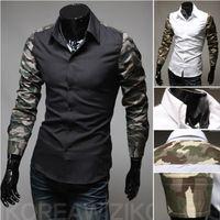 Men Cotton  Hot Sale Men Popular Fashion Slim Shirt Casual Splice Camouflage Long Sleeve Men Shirt Outwear #1058