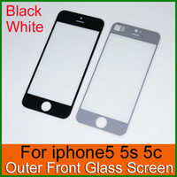 For Apple iPhone Touch Screen  Top Quality Outer Touch Screen Glass Lens Cover for iPhone 5 5S 5C White and Black Glass panel without flex cable Replacement Repair Part