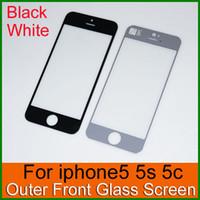 Верхнее качество Внешний сенсорный экран Стеклянная крышка объектива для iPhone 5 5S 5C белый и черный стеклянная панель без кабеля гибкого трубопровода Замена Ремонт Часть