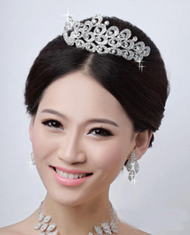 Wholesale Wedding Bridal Austrian Crystal Peacock Veil Tiara Crown Headband Frontlet Pageant Bridal Prom Wedding Gift