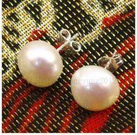 Stud beautiful culture - beautiful mm white Cultured fresh water akoya pearl earrings Shipping worldwide