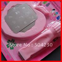 Cheap DIY Nail Art Stamping Set Kit 2 in1 Scraper + 2 PCS Nail Image Plate + Nail plate Holder Wholesale 5sets lot