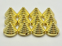 Wholesale 100 Gold Tone Metallic Rock Punk Dotted Spike Rivet Taper Studs Beads X10mm