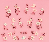 Wholesale New d Fashion Design Wedding Bride Nail Art Stickers Decals Colorful Lace Flower Series Temporary Tattoos XF627 Nail Patch