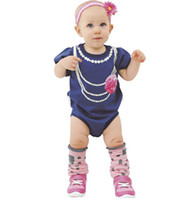 Wholesale 2014 Baby Girls Bodysuits Necklace Flower Rompers for toddler Summer Short Sleeve bodysuit HOT SALE Drop Shipping