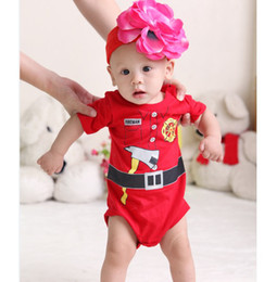 Wholesale Fireman Costume Toddler Bodysuit Short Sleeve Summer Rompers Jumpsuits Body suit for baby Fashion baby clothes