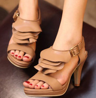Women Spool Heel Genuine Leather 100% genuine leather Hot Sale Cheap Summer Sandals shoes Sexy Women High Heels Pumps Party Women Sandals