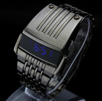 Wholesale NEW Fashion Luxury Iron Man Conception LED Mens Stainless Steel Watch With Gift Box