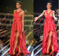 Wholesale 2014 Nicole Scherzinger Celebrity Dresses Red Halter Chiffon Hi Lo Red Carpet Dresses Backless Summer Prom Evening Gowns BO3713