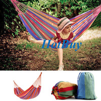 Nylon   NEW Portable Cotton Rope Outdoor Swing Fabric Camping Hammock Canvas Bed + Bag 200x80cm #2875
