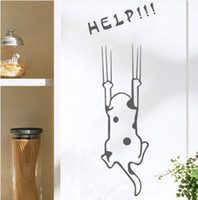 Wholesale Wall stickers cartoon child real refrigerator kitchen cabinet wall stickers tile furniture glass stickers help cat