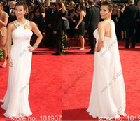 Reference Images High Neck Chiffon 2014 Kim Kardashian Evening Dresses High Neck Beading White Long Chiffon Red Carpet Celebrity Dresses BO3660