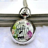 Wholesale JW049 Designs Multifunctional Classic Elegant Mirror Pocket Watch Birdcage Quartz Watch with necklace relogio