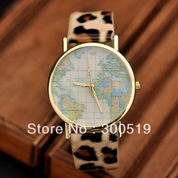 JW332New Style Ladies Dress Watches With Map Watch Face Leather Strap Fashion Design Wrist Watch