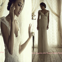 Wholesale Cap sleeves wedding dress with beaded lace fitted on the skirt Anna campbell gossamer bridal collection vintage JANE bridal gowns