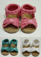 baby crochet patterns - 2016 summer new barefoot sandals Hand woven bowknot baby shoes Cheap soft bottom toddler shoes diy crochet shoes baby wear pair