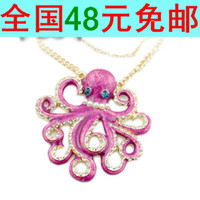 Pendant Necklaces Alloy / Silver / Gold Wave chain European and American style jewelry fashion jewelry cute sea creatures octopus long necklace female sweater chain AA