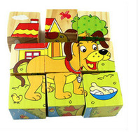 Children's Day animal puzzle games - New Children Wooden Cartoon Animal Puzzle Toys Sides Wisdom Jigsaw Early Education Toys Parent Child Game