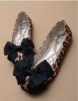 american flat bow - European and American fashion leisure comfortable flat shoes leopard bow single shoes