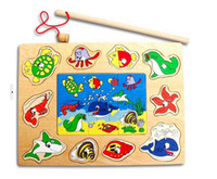 Wholesale Magnetic Fishing Sea Animal World Puzzle Combo Pack AB Style children s wooden toys