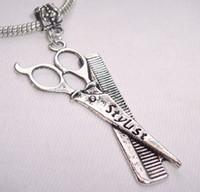 achat en gros de ciseaux charme bracelet-Argent tibétain Mic Grand Hair Stylist Ciseaux peigne focaux Dangle Perles Bracelet Fit européenne charme 64 mm x 23 mm (z037)