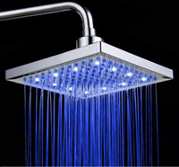 ABS bathroom top shower - 8 inch square LED Light Square Top Rain Shower Head Bathroom Bath Glow Temperature Sensor Dropshipping