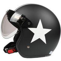 Wholesale I Taiwan quot EVO quot Retro Motorcycle Helmet Open Face Casque Scooter Matt Black White Star Casco amp UV quot W quot Lens amp Visor
