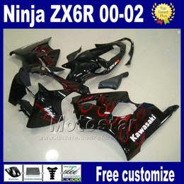 7gifts fairings kit For kawasaki ninja ZX-6R ZX 6R 636 ZX6R ZX636 ZX-636 2000 2001 2002 black red flame racing bobywork fairing set as101