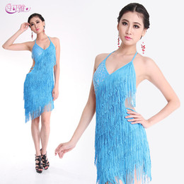 Wholesale New Adult Latin Dance Dress V neck Competition Fringed Halter Dance Show Skirts A0160