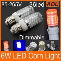 Диммируемый Базовый E27 G9 GU10 E14 6W 5050 SMD 36 светодиодов LED Corn электрической лампочки освещения 550LM AC 85-265V теплый белый / белый / красный / синий Бесплатная доставка