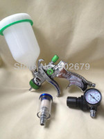 HVLP Paint Spray Gun  Wholesale - 601 high quality spray gun kit gravity stainless steel 600ml cup hvlp spray gun mini regulator air filter