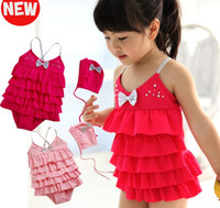 Wholesale Girl Swimwear Bowknot Tiered One Piece Swimming Suit Cap For Years Pink Rose
