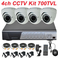Box/Body   Wholesale - Free shipping cctv system best sony effio 700TVL 4ch cctv kit security surveillance indoor dome video camera 4CH full D1 HD DVR