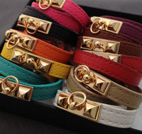 Wholesale HOT H Brand Vintage Punk Studs Pyramid Faux Leather Wristband Charm Bangles Bracelet Cuffs